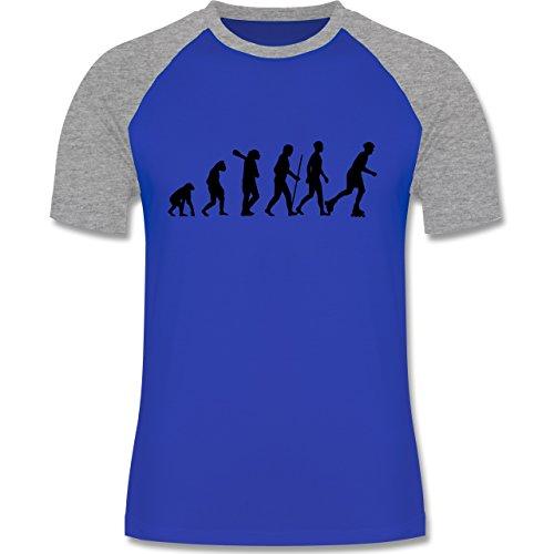 Evolution - Inliner Evolution - zweifarbiges Baseballshirt für Männer Royalblau/Grau meliert