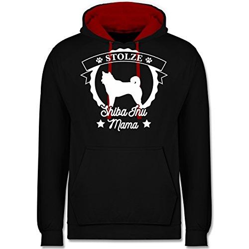Hunde - Stolze Shiba Inu Mama - Kontrast Hoodie Schwarz/Rot