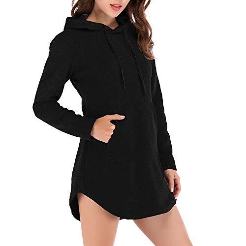 iHENGH Top Damen,Women Herbst Casual Hoodie Solid Sweatshirt Lange Ärmel unregelmäßiger Pullover Top Bluse T Shirt Pullover Crop Tops Damen Mode