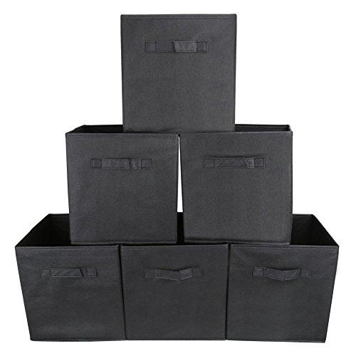 Schlafzimmer Schrank Organisatoren (Aufbewahrungsbox | EZOWare 6er-Set Aufbewahrungskiste ohne Deckel - Schwarz)