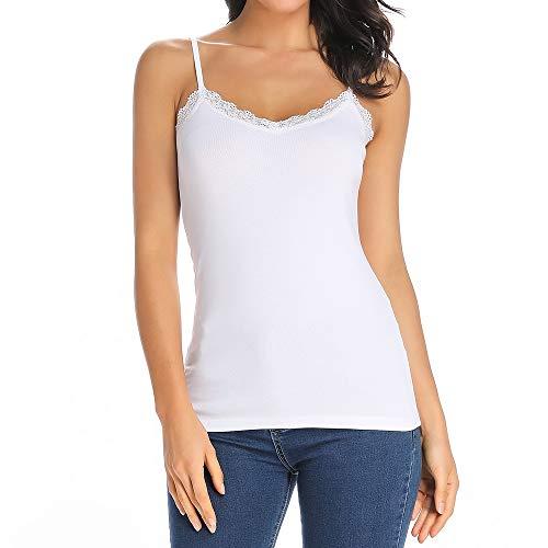 STARBILD Damen V-Ausschnitt Camisole Tank Tops Basic Unterhemd Lace Trim Weste mit verstellbarem Spaghetti-Träger Unterhemden Weiß - Breite Trim V-neck Top