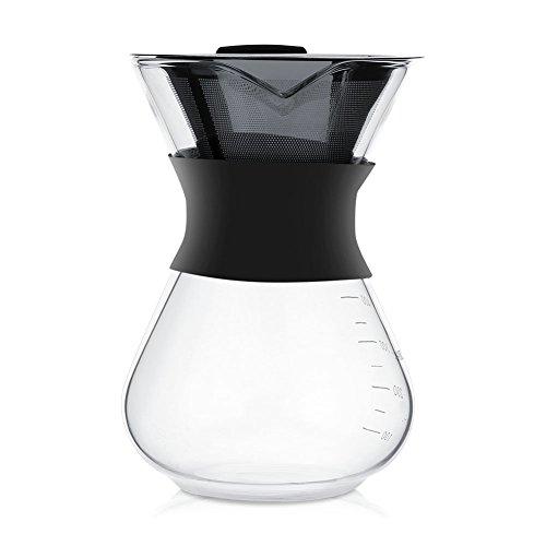 Drip Coffee Maker 400ML, Manuelle Handtropf Kaffeemaschine Glas Topf mit Edelstahl Filter