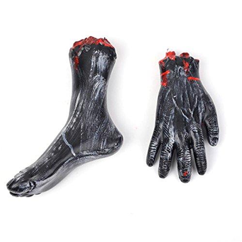 BESTOYARD Gebrochene Hand Gebrochenen Fuß Gehackte Menschlichen Körperteile Set Terror Requisiten für Halloween Party Requisiten 2 STÜCKE (Schwarz)