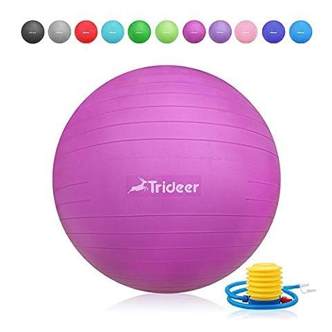Trideer Robuster Gymnastikball Sitzball Fitnessball von 45cm 55cm 65cm 75cm & 85cm inkl. Ballpumpe (Fuchsia, 65cm)