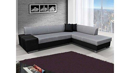 JUSTyou Porto Canapé d'angle Sofa canapé lit Tissu structuré Simili Cuir (HxLxl): 73x278x216 cm Gris Noir Angle Droit