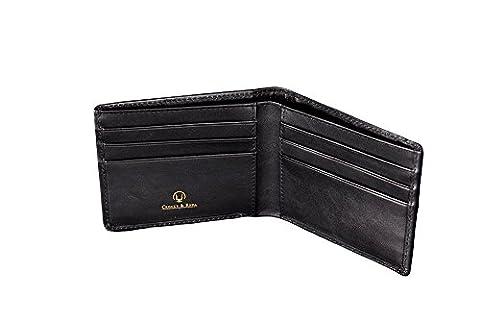 Cronus & Rhea® | Luxus Geldklammer aus exklusivem Leder (Ladon) | Kartenhalter - Kartenetui - Geldbeutel - Geldbörse | Echtleder | Mit eleganter Geschenkbox | Herren - Damen (Schwarz)