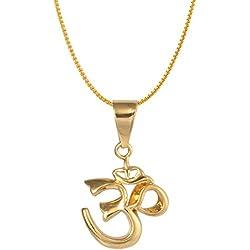 BellaMira Collar de Oro Amarillo Chapado en Oro Amarillo Yoga Peace Indian Diwali Joyas de Símbolo Hindú para Hombres Mujeres Unisex en Luxury Gift Box