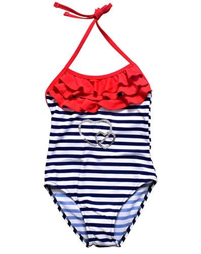 Cherry Mädchen Badeanzug (HAPPY CHERRY Neckholder Monokini Mädchen Einteiler Badeanzug Süßer Bademode Gestreift Schwimmanzug Swimsuit - Blau Größe 152)