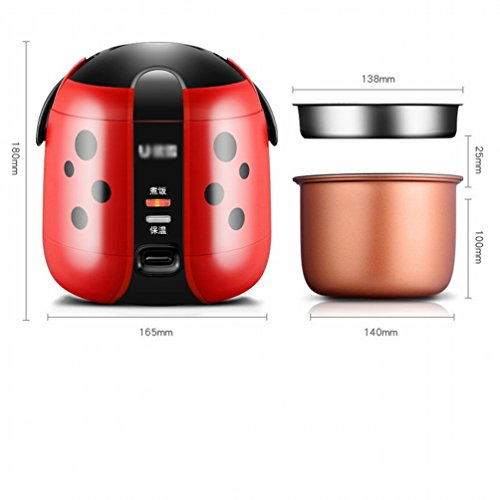 MEZ Single Mini Rice Cooker 1-2 People Portable Small Capacity 1.2L Rice Cooker,Red