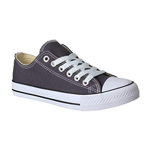 Elara Unisex Sneaker | Bequeme Sportschuhe für Damen und Herren | Low top Turnschuh Textil Schuhe CHF Dk.Grey-41 Low Top Schuhe