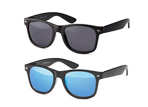 MOKIES Unisex Sonnenbrillen - UV400 Filterkategorie 3 CE Kennzeichnung - Wayfarer Design - Polycarbonat - mit Federscharnier - B-SET Grau, Blau