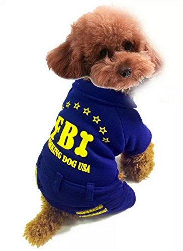 ranphy Kleiner Welpe/Tier Kleidung für weiblich männlich FBI Arbeiten Outfit Hund Jumpsuit Hose Hundemantel Herbst Doggy Apparel