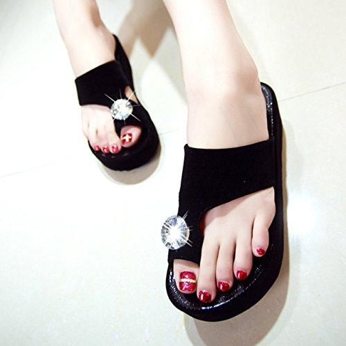 Zapatillas De Diamante Lgk & Fa Alta, Sesgada, Flip-flop, Prevención De Franjas Playa Simple Y Hermosa De Zapatillas 36 Blanco (placa De Luz B-28) 36 Negro (placa De Luz B-28)