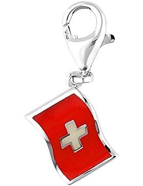 Esprit Damen Charm 925 Silber Silber/Rot Flagge ESZZ90469A
