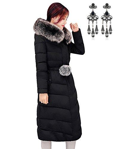 MODETREND Cappotto Con Cappuccio Piumino da Donna con Collo di Pelliccia Lungo Cappotti Trapuntato Down Coat Inverno Addensare Parka Giacca
