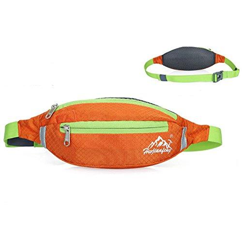 Cintura in vita, borsa impermeabile Oxford marsupio da corsa leggera doppia zip borsa per ciclismo, trekking, campeggio arrampicata viaggiare, purple Orange