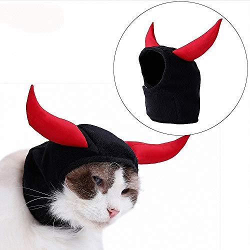 FZ FUTURE Katze Kuh Teufel Kopfbedeckung, Halloween Kostüm für Katze Hund, Halloween Lustiges Haustier Kostüm, Haustier Halloween Party Requisiten, Kleine Hunde Oder - Kuh Hoodie Hunde Kostüm