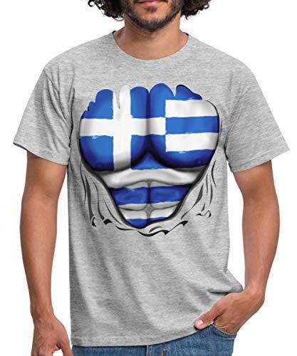 Spreadshirt Griechenland Flagge Muskel Männer T-Shirt, 4XL, Grau ()