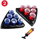 Uhomely Inflatable Beer Pong Hats, 2Pack of Floating Pool Beer Pong Tables with 1 Pump, 2 Balls and 12 Cups (6Red,6Blue), Best Beer Pong Game Set
