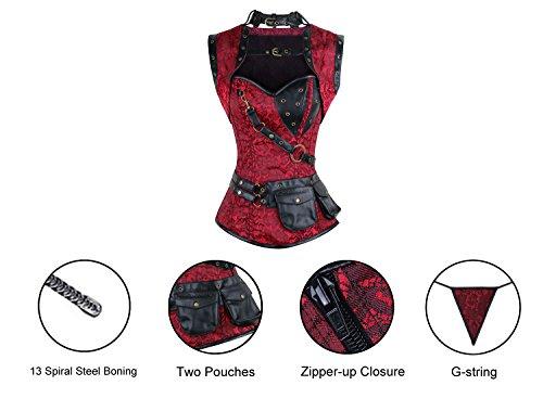 Charmian Women's Steampunk Spiral Steel Boned Vintage Retro Corset Tops Bustier Rot