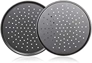Pack of 2 Pizza Pans With Holes 13 inch - Carbon Steel Perforated Pizza Crisper Pan with Nonstick Coating
