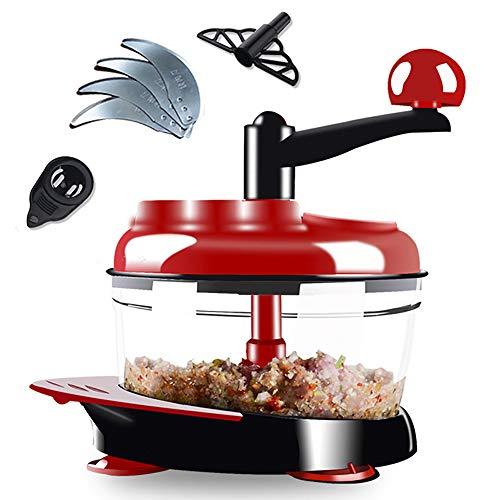Chopper per cibo manuale, robot da cucina manuale Cucina Chopper per verdure Frullatore per carne Tritacarne tritato Frullatore con 4 lame in acciaio inossidabile, 2L