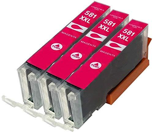 3x MAGENTA CLI-581M XXL compatibili cartucce d'inchiostro per CANON Pixma TR7550 TR8550 TS6150 TS6151 TS8150 TS8151 TS8152 TS9150 TS9155