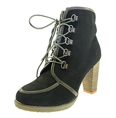 Stiefeletten Damenschuhe Farbe Schwarz/Grau zum Schnüren (2011-BG) Schwarz/Grau