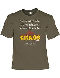 Lustiges T-Shirt für Schüler - Wozu soll ich mein Zimmer aufräumen - Geschenk mit Urkunde mit Humor - Farbe. Grau