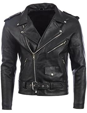 Chaqueta de BIKER con cinturón negro para hombre en cuero de piel de vaca REAL o piel de oveja super-suave de...