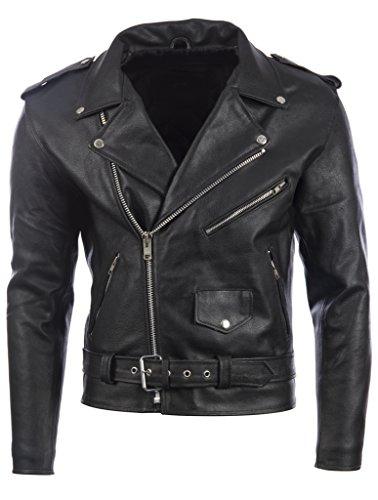 Herren Schwarz Gürtel Bikerjacke in echtem Rindsleder Leder oder super-weichen Schaffell-Leder MDK - Herren Biker Leder