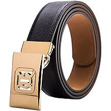 BBO Cinturón de Cuero para Hombres de Negocios Geniune de Cuero con Hebilla  de Metal Deslizante 1da11513cf44