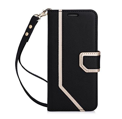 fyy Galaxy S8Fall, Samsung Galaxy S8Fall [RFID-blockierender Wallet] [Make-up Spiegel] Premium PU Leder Samsung Galaxy S8Wallet Tasche mit Kosmetikspiegel und Handschlaufe, schwarz