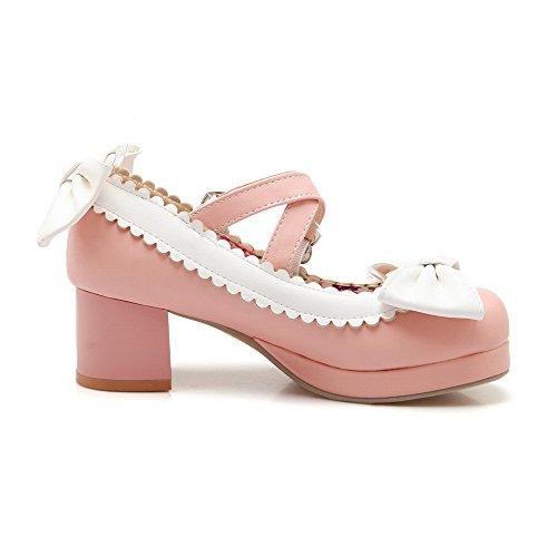 AgooLar Femme Pu Cuir Couleurs Mélangées Boucle Rond à Talon Correct Chaussures Légeres Rose
