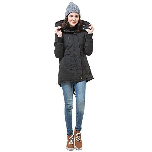 Romacci Winter Women's Fleece Parka Warm Coat Hoodie Overcoat Long Jacket Black (Type 1)