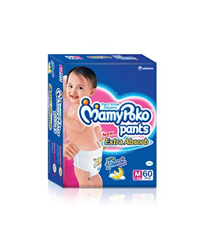 Mamy Poko Pant Style Medium Size Diapers (60 Count)