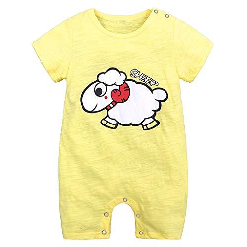LABIUO 0-18 Monate Baby Strampler Jungen Schlafanzug Baumwolle Karikaturdruck Kurze Ärmel Overalls Ente Bär Lamm Welpe Smiley Gesicht Muster Outfits(Weiß,3-6 Monate)