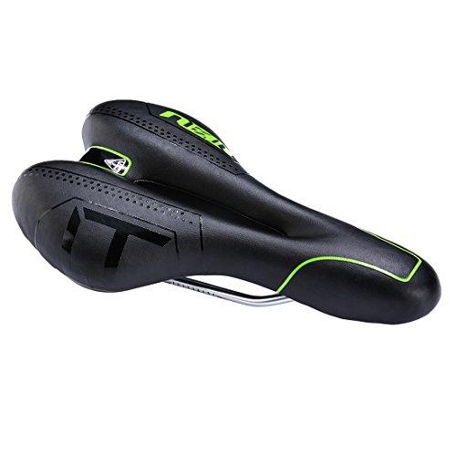 Zhiqiu Fahrradsattel, bequem, Unisex, gepolsterte Sitzfläche, wasserdicht, weich, atmungsaktiv, Entlastungszone in der Mitte, ergonomisches Design, für Rennrad, Mountainbike und Faltrad, schwarz / grün