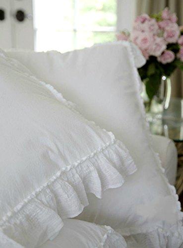 Shabby Chic Rüschen Bettwäsche Tröster Bettdecke Bezug 3-teiliges Set Full/Queen 100% Baumwolle im französischen Stil fransigen Bettbezug Weiß (Queen) -