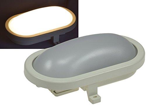 """LED Oval-Armatur""""FRL-O 12"""" IP44 Feuchtraum-Leuchte, 12W, 960lm, 3000K / warmweiß Leuchte für Keller Garage Carport"""