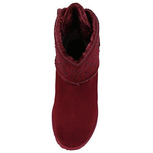 napoli-fashion Bequeme Warm Gefütterte Damen Schuhe Stiefel Schlupfstiefel Jennika Dunkelrot Schleife Darkred