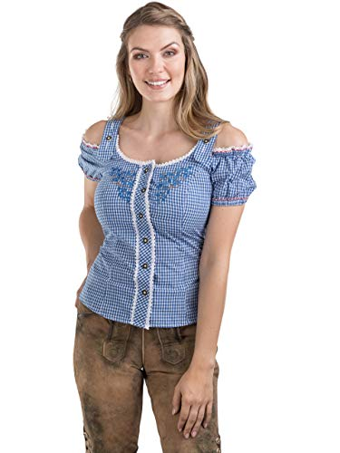 Schöneberger Trachten Couture Trachtenbluse Alpenklee - Elegante, Karierte Bluse im Carmenstil mit Stickereien - Tailliert & Verstellbar (44, Blau/Weiss)