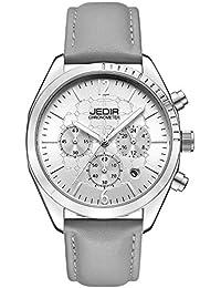 JEDIR- Reloj analógico de Cuarzo con cronógrafo con Ventana de Fecha, Caja de Metal, Correa de Piel de Becerro (Gris)