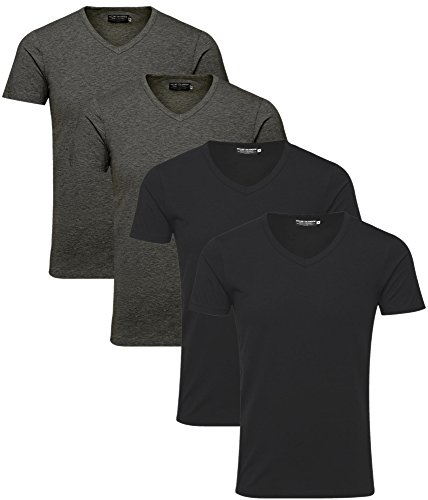 JACK & JONES Herren T-Shirt Basic 4er PACK O-Neck V-Neck Tee S M L XL XXL V Neck Mix 3
