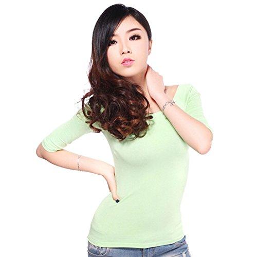 Femmes Sexy Douce De L'Epaule A Encolure Bateau Manches Demi-Shirt De Base T-Shirt Tops Vert clair