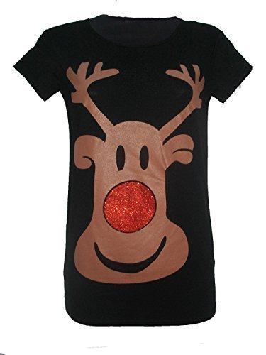 LUSH CLOTHING-C4-WEIHNACHTEN WEIHNACHTSMANN RUDOLPH MOTIV PINGUIN GLITZER T-SHIRT OLAF FAIR-ISLE-MUSTER, GR. 8-22 - - Black Rudolph, M/L = UK (Designs T Weihnachten Shirts)