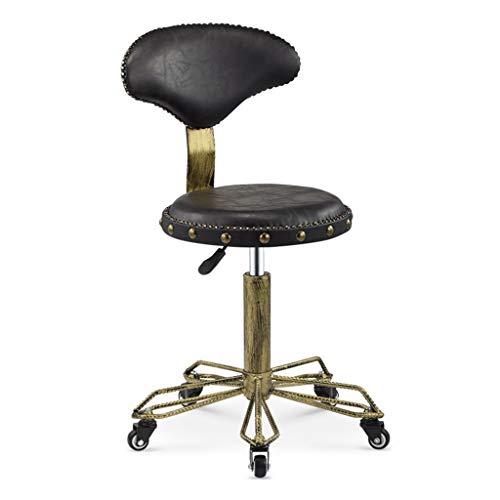 Silla giratoria retro de comedor / oficina con patas cromadas con ruedas y elevador, silla de escritorio para computadora ajustable...