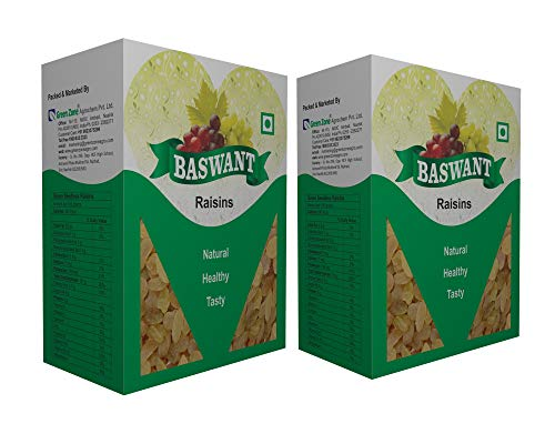 Baswant Green Indian Seedless Raisins | Kishmish - 2 kg | Premium Quality Indian Raisin | Kismis | Dry Grapes | Amazing Value Pack from Grapes Capital of India