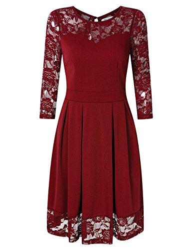 KoJooin Damen Elegant Kleider Spitzenkleid Langarm Cocktailkleid Knielang Rockabilly Kleid Rot Bordeaux Weinrot S