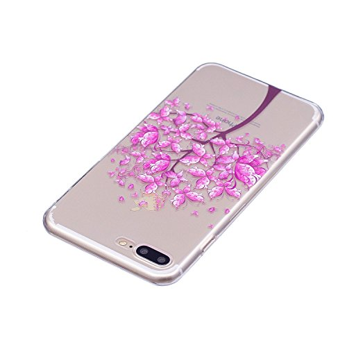 Custodia iphone 7/8 Plus, Cover iphone 7/8 Plus, Cozy Hut [Clear Ultra Sottile Silicone Gel] Liquid Crystal **Estremamente Sottile & Puro Trasparente** Premium TPU silicone case Custodia Cover iphone  Albero di farfalla rosa